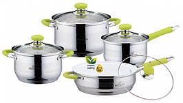 Комплект посуду BOHMANN BH-08-435 якісний кухонний набір з прогумовані ручки 8 предметів