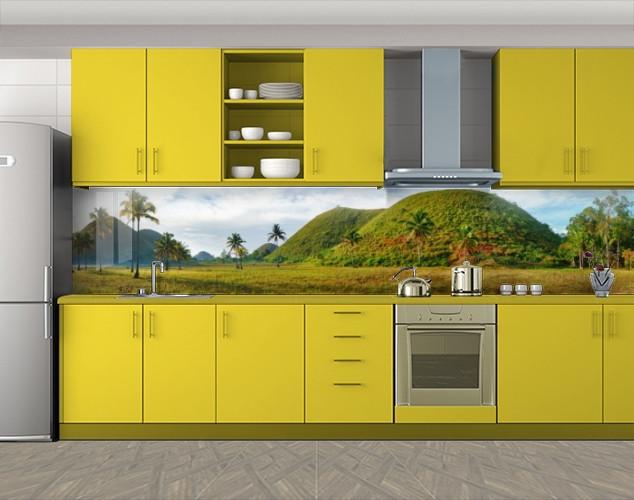 Кухонный фартук Тайские холмы и пальмы, Фотопечать скинали на кухню, Природа, зеленый