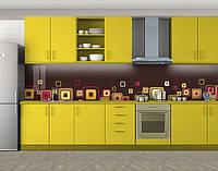 Кухонный фартук Блики Квадраты, Пленка для кухонного фартука с фотопечатью, Абстракции, коричневый, фото 1