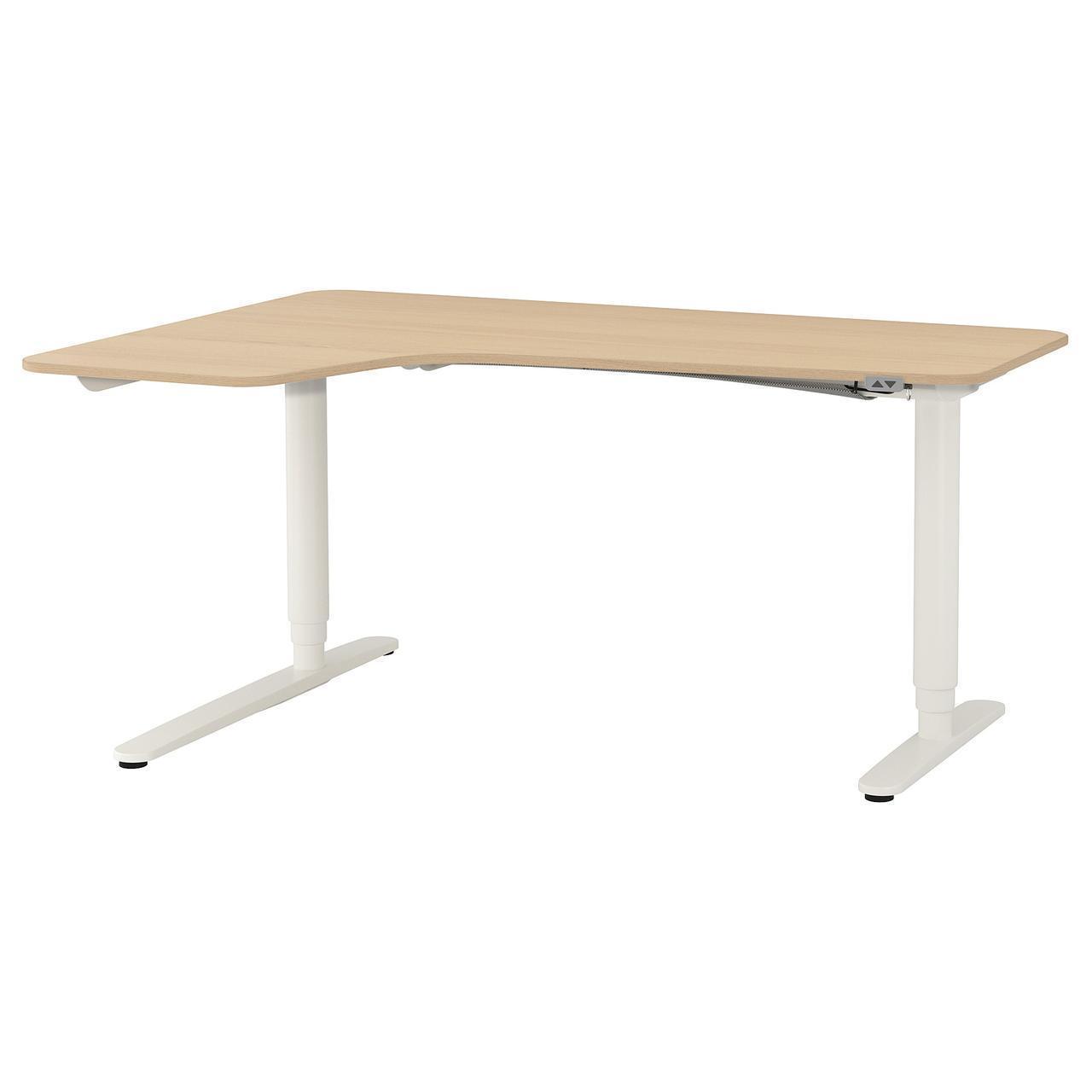 Компьютерный стол IKEA BEKANT 160x110 см дубовый шпон белый 392.823.05