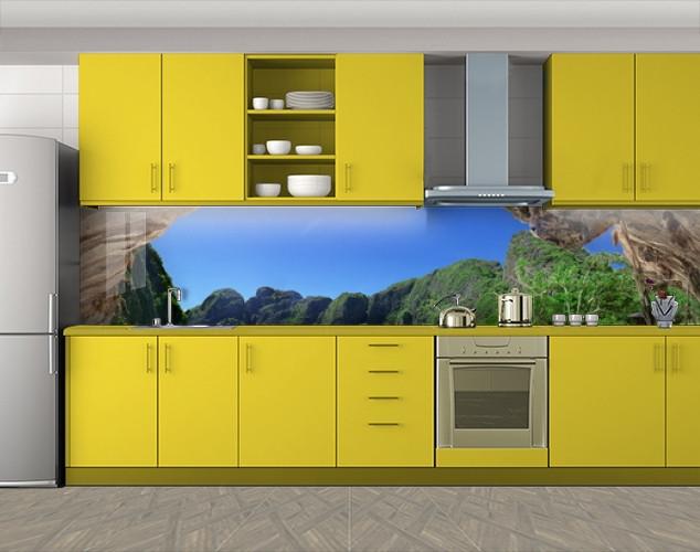 Кухонный фартук Скалы тропического острова, Кухонный фартук с фотопечатью, Море, пляж, зеленый