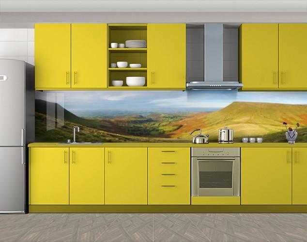 Кухонный фартук Долина и холмы, Скинали с фотоизображением на самоклеящейся пленке, Природа, зеленый