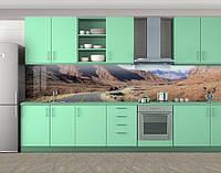 Кухонный фартук Дорога в пустыне, Пленка для кухонного фартука с фотопечатью, Природа, бежевый