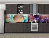 Кухонный фартук Кофе и лаванда, Кухонный фартук на самоклеящееся пленке с фотопечатью, Еда, напитки, коричневый