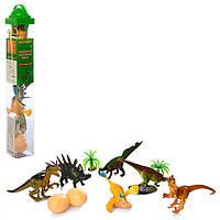 Динозавры 9689-20, 6шт, от 8см, яйца, деревья, в кол-бе,32-4-4см
