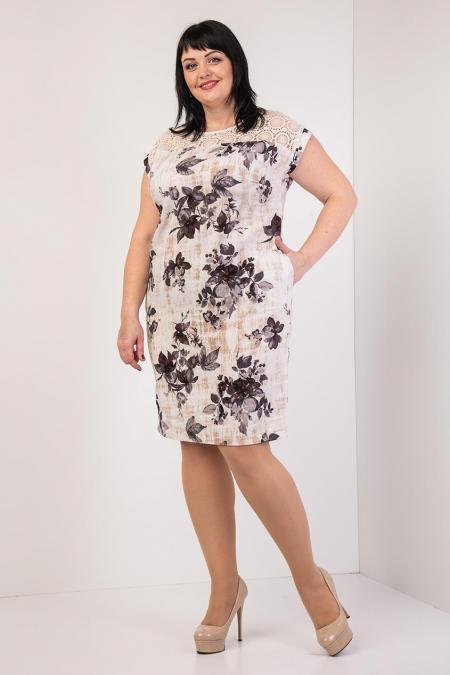 6c3c0ff9c50 Льняное батальное платье с цветами - EVA LOOK в Хмельницком