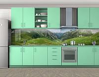 Кухонный фартук Горы и холмы, Стеновая панель для кухни с фотопечатью, Природа, зеленый