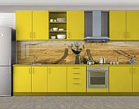 Кухонный фартук Убранное поле, Защитная пленка на кухонный фартук с фотопечатью, Природа, бежевый