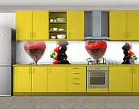Кухонный фартук Клубника в шоколаде, Стеновая панель для кухни с фотопечатью, Еда, напитки, белый