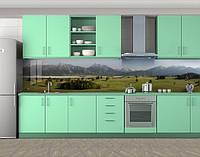 Кухонный фартук Горная долина, Защитная пленка на кухонный фартук с фотопечатью, Природа, зеленый
