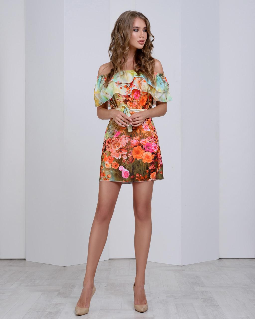 Нежное цветочное шифоновое платье с двумя рюшами