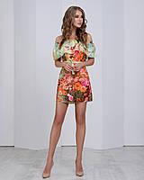 Нежное цветочное шифоновое платье с двумя рюшами, фото 1
