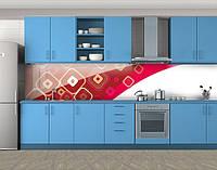 Кухонный фартук Геометрия, Самоклеящаяся стеновая панель для кухни, Абстракции, красный