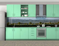 Кухонный фартук Горы и деревья, Наклейка на кухонный фартук, Природа, зеленый