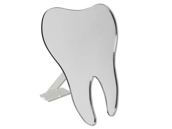 Зеркало-зуб на подставке, зеркало в форме зуба на подставке