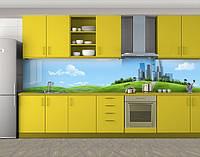 Кухонный фартук Небоскребы на холме, Пленка самоклеящаяся для скинали, Архитектура, голубой, фото 1