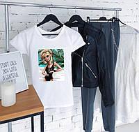 Женская пляжная футболка белая качественная шелкография