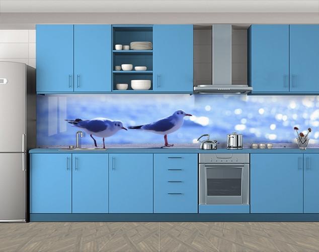 Кухонный фартук Чайки и море, Кухонный фартук на самоклеящееся пленке с фотопечатью, Животный мир, синий