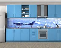 Кухонный фартук Чайки и море, Кухонный фартук на самоклеящееся пленке с фотопечатью, Животный мир, синий, фото 1