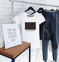 Женская пляжная футболка леопард белая, фото 1