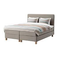 Двуспальная кровать IKEA LAUVIK 160x200 см Hamarvik средней твердости Tuddal темно-бежевый Burfjord 191.713.13