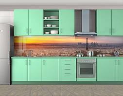 Кухонный фартук Париж на рассвете, Пленка самоклеящаяся для скинали, Архитектура, Эйфелева башня, бежевый