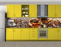 Кухонный фартук Кофе в мешке и кофейные зерна, Стеновая панель для кухни с фотопечатью, Еда, напитки, коричневый