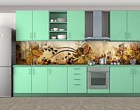 Кухонный фартук Винтажные Нарциссы, Самоклеящаяся стеновая панель для кухни, Цветы, коричневый