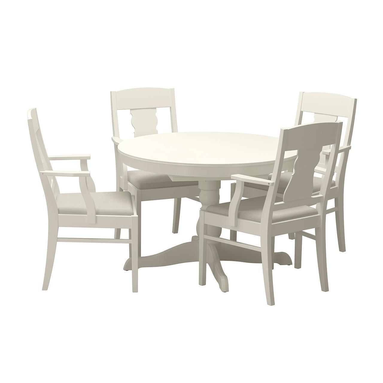 Комплект для кухни (стол и 4 стула) IKEA INGATORP / INGATORP 110/155 см белый 892.522.02