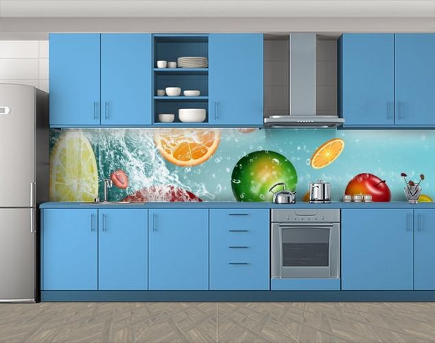 Кухонный фартук Веселые цитрусы, Пленка для кухонного фартука с фотопечатью, Еда, напитки, голубой, 600*3000 мм