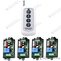 Комплект из четырех приемников на 220В и одного пульта для дистанционного управления устройствами