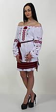 Жіноча вишита блуза червоним орнаментом, фото 3