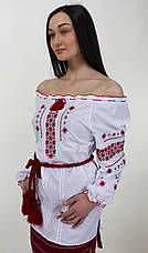 Жіноча вишита блуза червоним орнаментом, фото 2