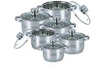 Комплект посуды кухонные кастрюли 12 предметов BOHMANN BH-1275 большой набор для дома