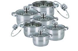 Комплект посуду кухонні каструлі 12 предметів BOHMANN BH-1275 великий набір для будинку