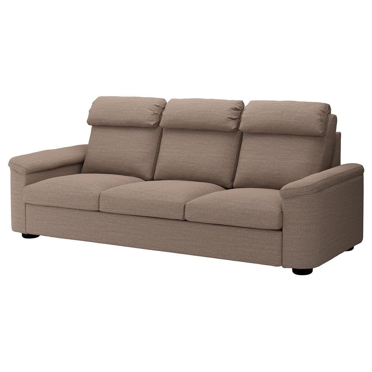 Диван IKEA LIDHULT 3-местный Lejde коричневый 392.569.81