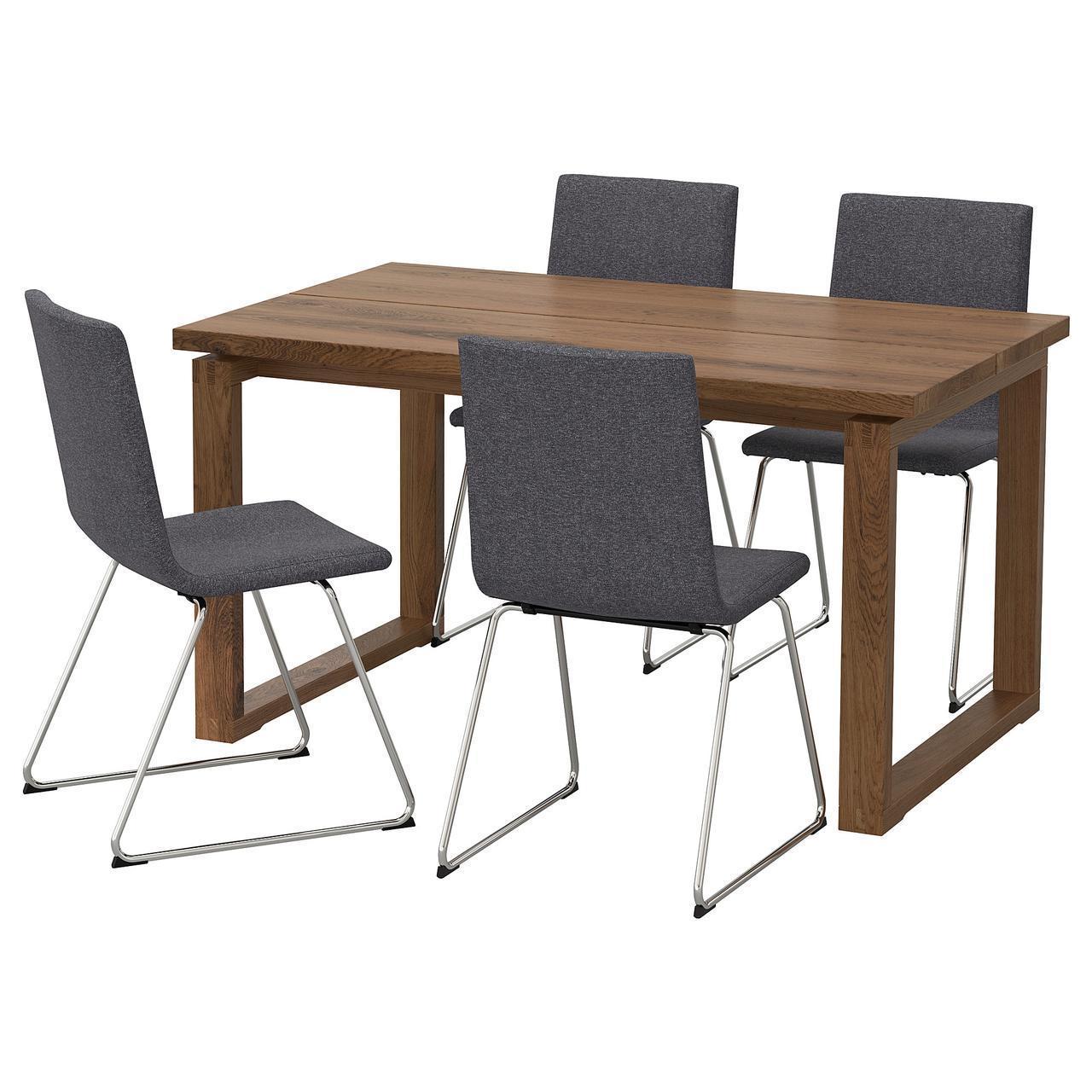 Комплект для кухни (стол и 4 стула) IKEA MÖRBYLÅNGA / VOLFGANG 140x85 см Gunnared коричневый серый 892.598.40