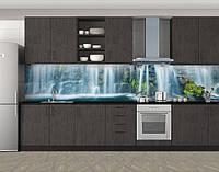Кухонный фартук Водопад и горы, Стеновая панель для кухни с фотопечатью, Природа, голубой