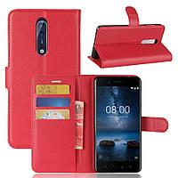 Чехол-книжка Litchie Wallet для Nokia 8 Красный