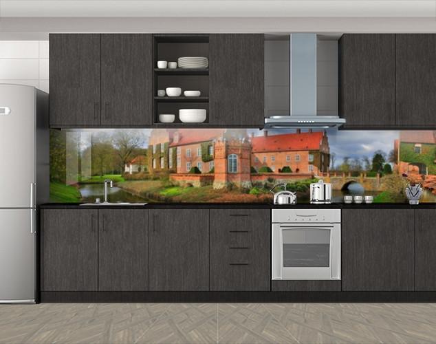 Кухонный фартук Кирпичное поместье, Кухонный фартук с фотопечатью, Архитектура, коричневый