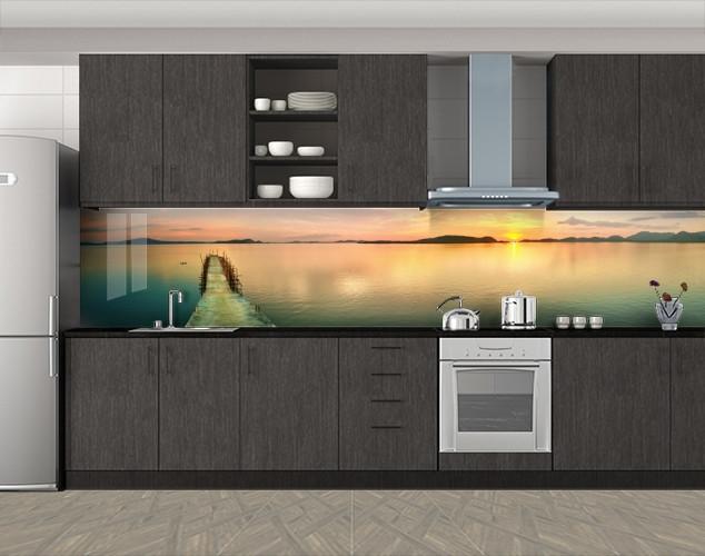 Кухонный фартук Тропический пантон, Самоклеящаяся скинали с фотопечатью, Море, пляж, бежевый, 600*3000 мм
