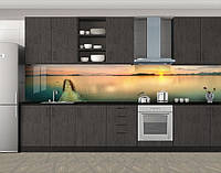 Кухонный фартук Тропический пантон, Самоклеящаяся скинали с фотопечатью, Море, пляж, бежевый, 600*3000 мм, фото 1
