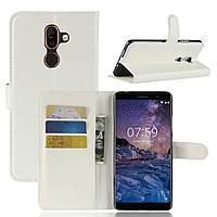 Чехол-книжка Litchie Wallet для Nokia 7 Plus Белый