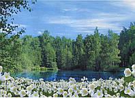 """Фотообои бумажные на стену, 134х194 см """"Цветочный берег"""", фотообои готовые, фотообои природа, 8 листов"""
