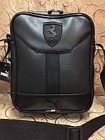 Барсетка сумка мужская черная Ferrari 116139 малая из эко-кожи один отдел ремень на плечо 23х18х7см