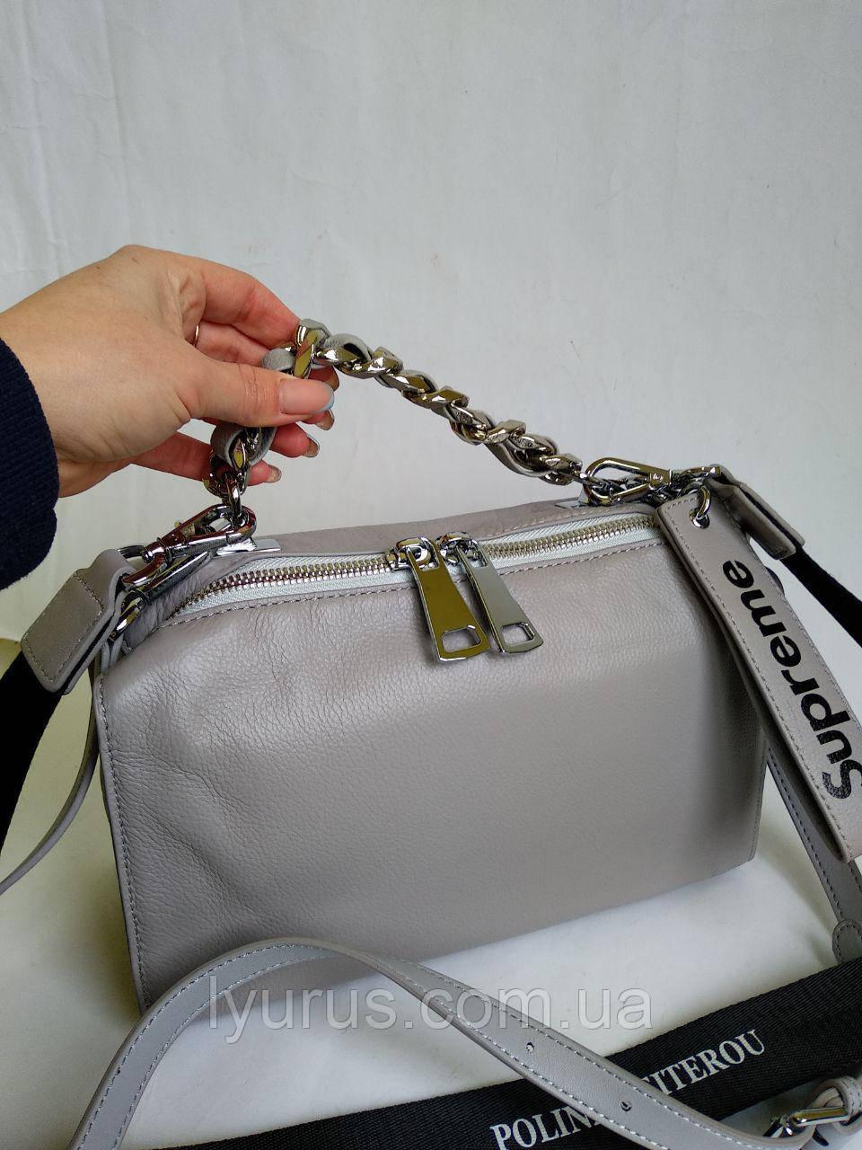 Жіноча шкіряна сумка Polina & Eiterou сіра