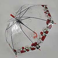 """Прозрачный зонт-трость с изображением роз, полуавтомат от фирмы """"Feeling rain"""" 211-5"""