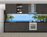 Кухонный фартук Пышные пальмы, Пленка для кухонного фартука с фотопечатью, Море, пляж, голубой