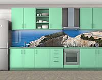 Кухонный фартук Горная дорога, Стеновая панель с фотопечатью, Природа, синий