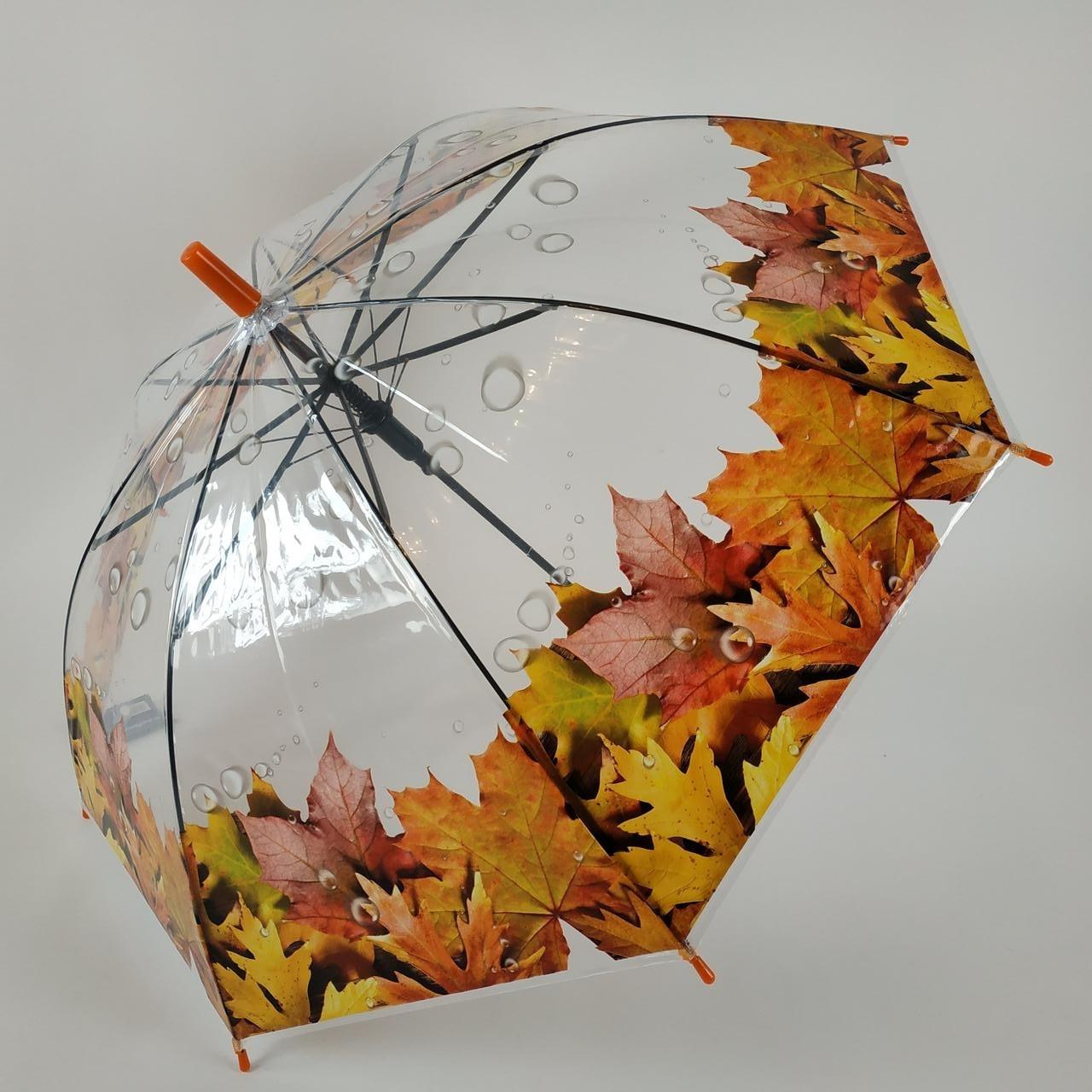 """Прозрачный зонт-трость с изображением кленовых листьев, полуавтомат от фирмы """"Feeling rain"""" - 211-6"""